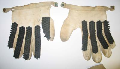 Cricket Batting gloves, pair, worn by Betty Wilson