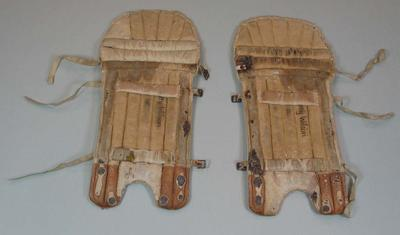 Set of Cricket Pads inscribed inside Betty Wilson Vic.