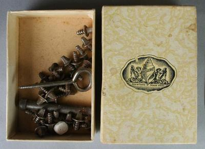 Cricket Spikes - Box of metal sprigs and tightening apparatus - belonging to Betty Wilson