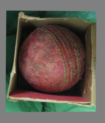 Cricket ball in original packet. Inscription on inside of packet. Betty Wilson made her score off this Ball 74.  2nd Women's Test 1949
