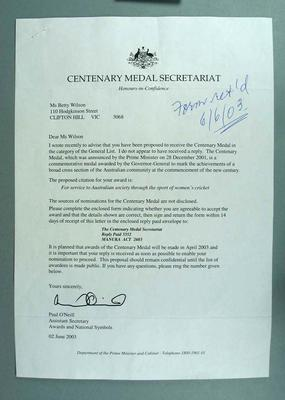 Letter from Centenary Medal Secretariat to Betty Wilson regarding the Centenary Medal Award