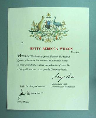 Commonwealth of Australia Warrant to Betty Rececca Wilson awarding Centenary Medal