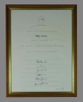 Framed and signed Hall of Fame Certificate awarded to Betty Wilson 26 January 1988