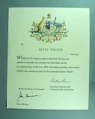 Commonwealth of Australia Warrant to Betty Wilson awarding Australian Sports Medal, year 2000