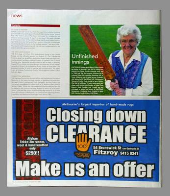 Melbourne Times magazine, August 10 2005, article entitled 'Unfinished innings' with cropped photograph of Betty Wilson