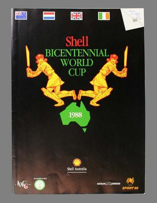 1988 Shell Bicentennial World Cup Programme which features two pages describing Betty Wilson's cricket career.