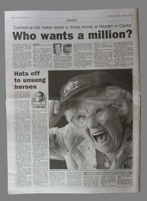 Herald Sun newspaper article, by Ron Reed, dated Thursday 26 February 2004, titled 'Hats off to unsung heroes' re. Betty Wilson.