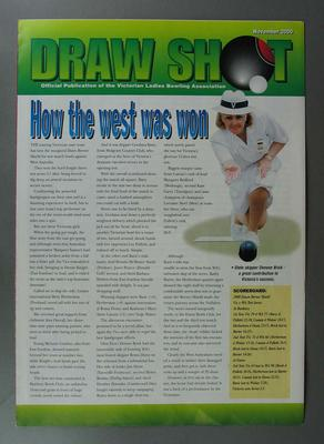 November 2000 - Draw Shot foldout magazine - back page article on Betty Wilson titled 'The great all-riounder'.