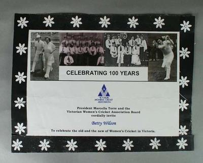 Victorian Womens Cricket Association - Celebrating 100 Years - invitation to Betty Wilson (black and white photocopy)