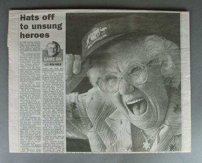 Herald Sun Newspaper article, 26 February 2004, by Ron Reed titled 'Hats off to unsung heroes'.