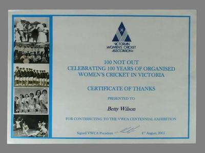 Victorian Women's Cricket Association Certificate of Thanks presented to Berry Wilson 4 August 2005