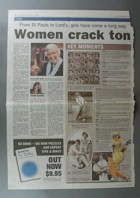 Sunday Herald Sun newspaper article July 10 2005 titled 'Women crack ton'