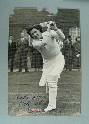 Black and white photograph of Betty Wilson at the nets at Lords; Photography; M16223.53