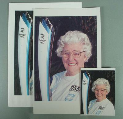 Card - colour photocopy image, dated Saturday 29 July 2000, Betty with Olympic Torch (Relay)