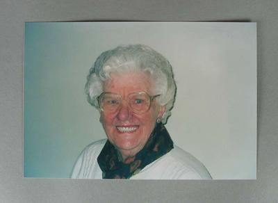 Colour head and shoulder photograph of Betty Wilson.
