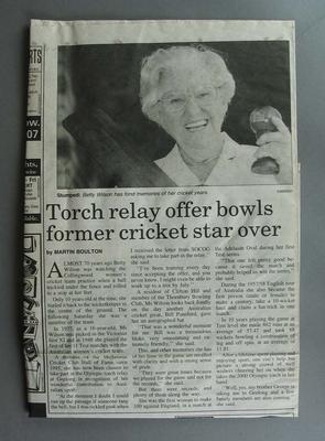 Northcote Leader Newspaper, dated March 1, 2000, article by Martin Boulton titled 'Torch relay offer bowls former cricket star over'