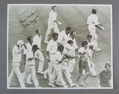 Reproduction photograph, Ray Illingworth being chaired off Sydney Cricket Ground - Feb 1971; Photography; M16396