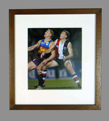 Reproduction photograph of Michael & Brett Voss during a football game, 7 June 2003