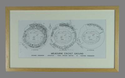 Reproduction photograph of MCG seating plan, 1956 Melbourne Olympic Games