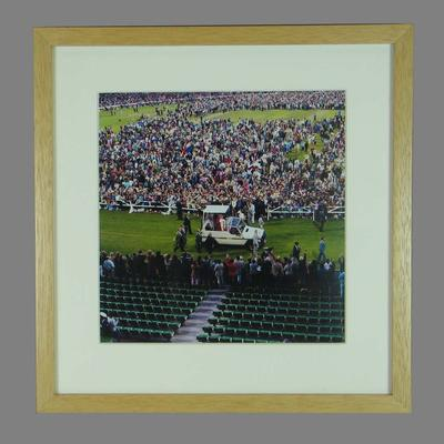 Colour reproduction photograph of Pope John Paul II at the MCG, 27 Nov 1986; Photography; M16399