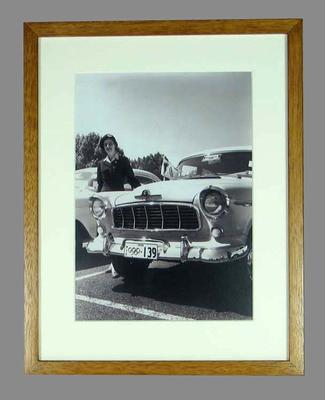 Reproduction photograph, 1956 Melbourne Olympic Games official driver and car