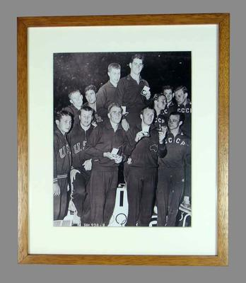 Reproduction photograph of 4 x 200m freestyle relay teams, 1956 Melbourne Olympic Games