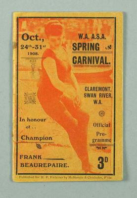 Programme for WAASA spring carnival, 24-31 October 1908