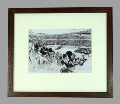 Reproduction photograph, 1896 Athens Olympic Games, artist's sketch opening ceremony