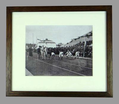 Reproduction photograph, depicts start of 100m race - 1896 Athens Olympic Games