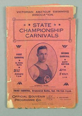 Programme for VASA State Championship carnival, 31 January - 7 February 1920