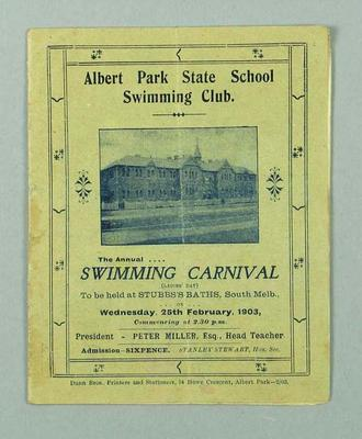 Programme for APSSSC Swimming Carnival, 25 February 1903