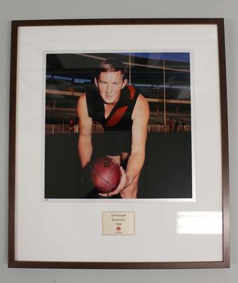 Framed reproduction photograph of Jim Forsyth, Essendon F.C. from Scanlens 1966 Flag Series football cards