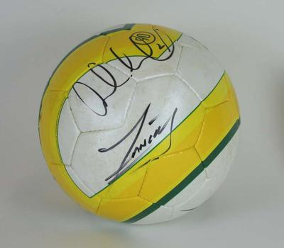 Soccer ball signed by L. Neil and J. Zanetti, Australia v Argentina,  MCG,  11/9/07