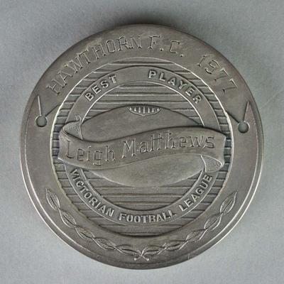 The Sporting Globe Haydn Bunton Medal awarded to Leigh Matthews in 1977; Trophies and awards; Trophies and awards; 2007.174