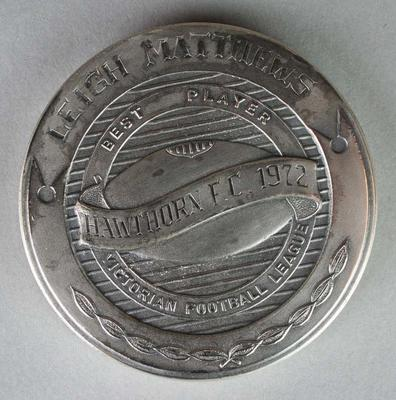The Sporting Globe Haydn Bunton Medal awarded to Leigh Matthews in 1972; Trophies and awards; Trophies and awards; 2007.173