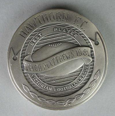 The Sporting Globe Haydn Bunton Medal awarded to Leigh Matthews in 1981; Trophies and awards; Trophies and awards; 2007.176
