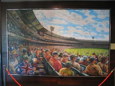 """""""From the Stand""""; oil painting of the MCG and new Northern Stand, by Alex Zubryn."""