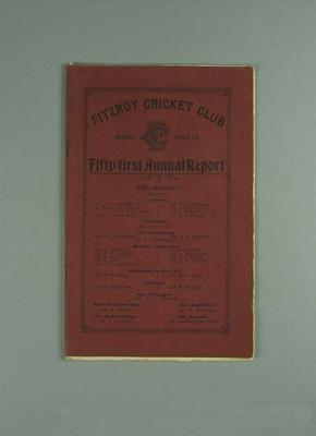 Annual report, Fitzroy Cricket Club - season 1913/14