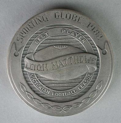 The Sporting Globe Haydn Bunton Medal awarded to Leigh Matthews in 1982.; Trophies and awards; Trophies and awards; 2007.177