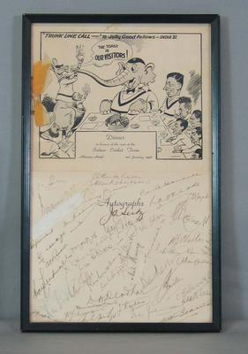 Autographed Dinner Menu for the Indian Cricket Team function, Menzies Hotel, 3 January 1948.