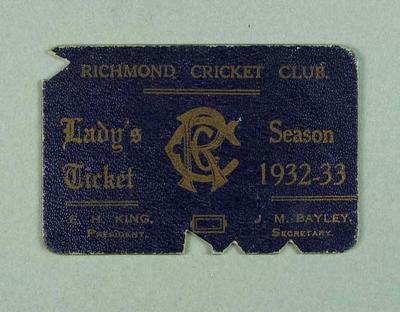 Richmond Cricket Club Lady's Ticket, season 1932-33