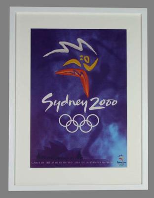 Framed reproduction of official poster from the 2000 Olympic Games.; Documents and books; 2007.243