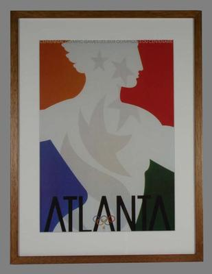 Framed official reproduction of the poster from the 1996 Atlanta Olympic Games; Documents and books; 2007.244