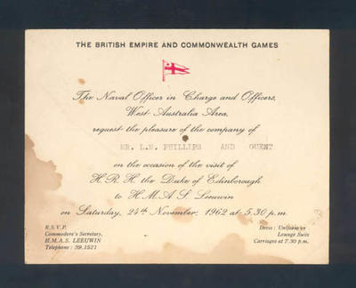 Invitation addressed to Mr. L.M. Phillips, visit by HRH Duke of Edinborough to HMAS Leeuwin 24 November 1962