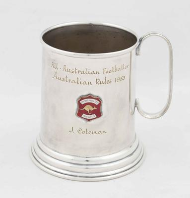 All Australian Footballer Aussie Rules tankard awarded to John Coleman, 1953
