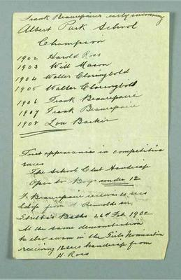 Handwritten notes detailing Frank Bearepaire's early swimming record, 1906 -1907