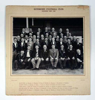 Black and white photo of Richmond Football Club visit to Adelaide in 1945