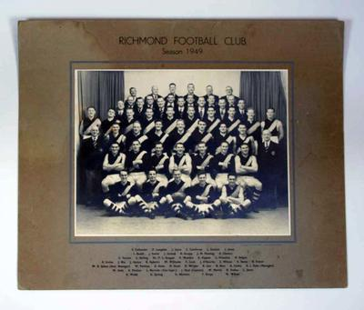 Black and white photo of the Richmond Football Club team in 1949