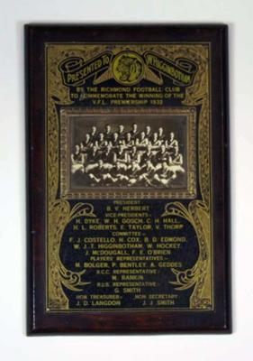 Premiership plaque, inscribed 'Presented to W. Higginbotham by the Richmond Football Club, VFL Premiership 1932