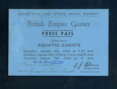 Press pass to 1934 British Empire Games aquatic events at Wembley Stadium, 4-7 August 1934